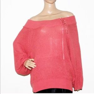 NWT EXPRESS Knitted Oversize Lace Up Sweater Mauve